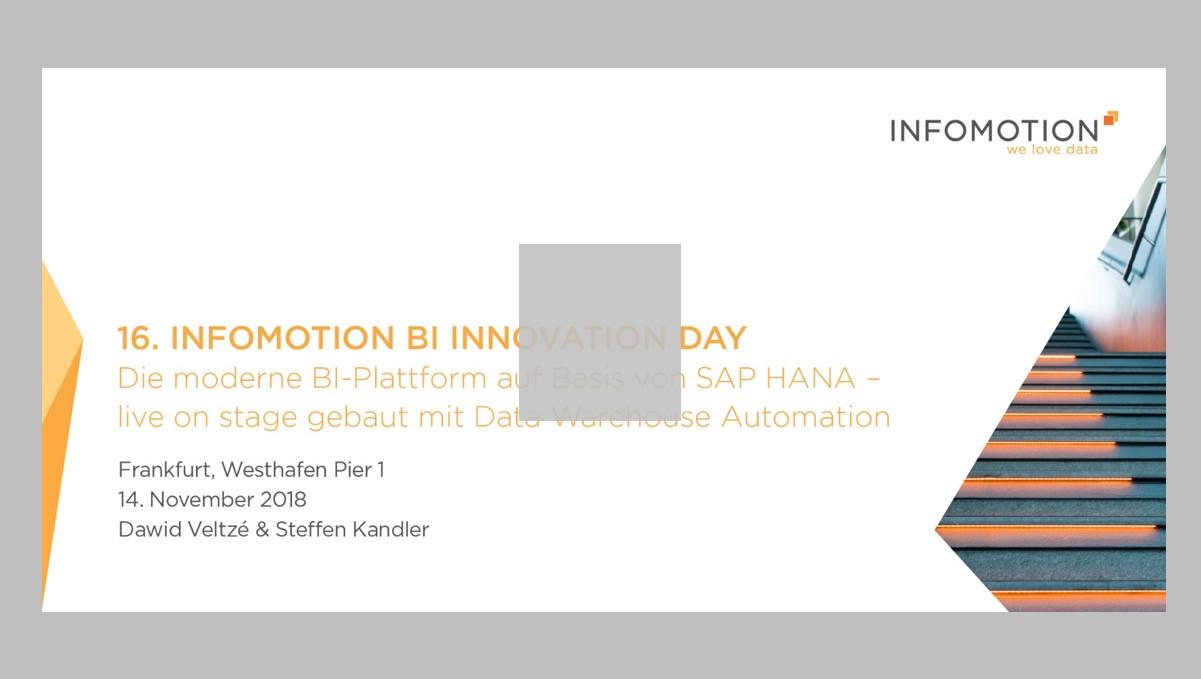 Die moderne BI-Plattform auf Basis von SAP HANA - live on Stage gebaut mit Data Warehouse Automation