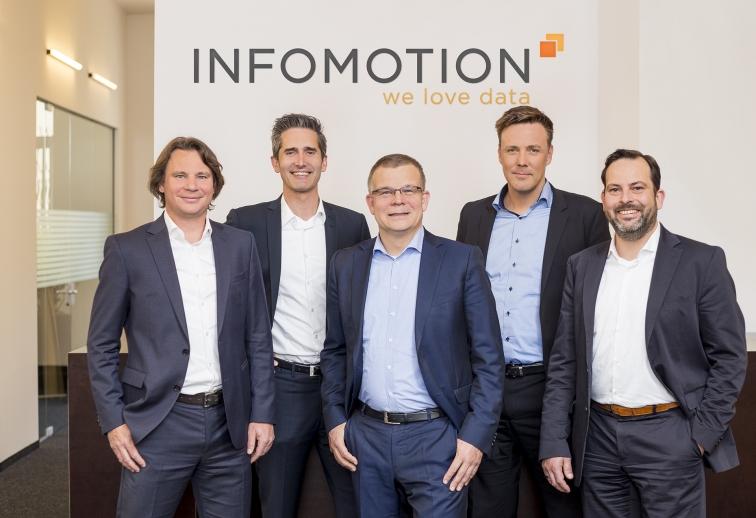 INFOMOTION Geschäftsleitung: Mark Zimmermann, Harry Enns, Andreas Naunin, Manuel Zimmer, Jörg Singer (v. l.)